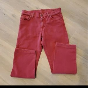 7 For All Mankind Red Slimmy Jeans Size 29